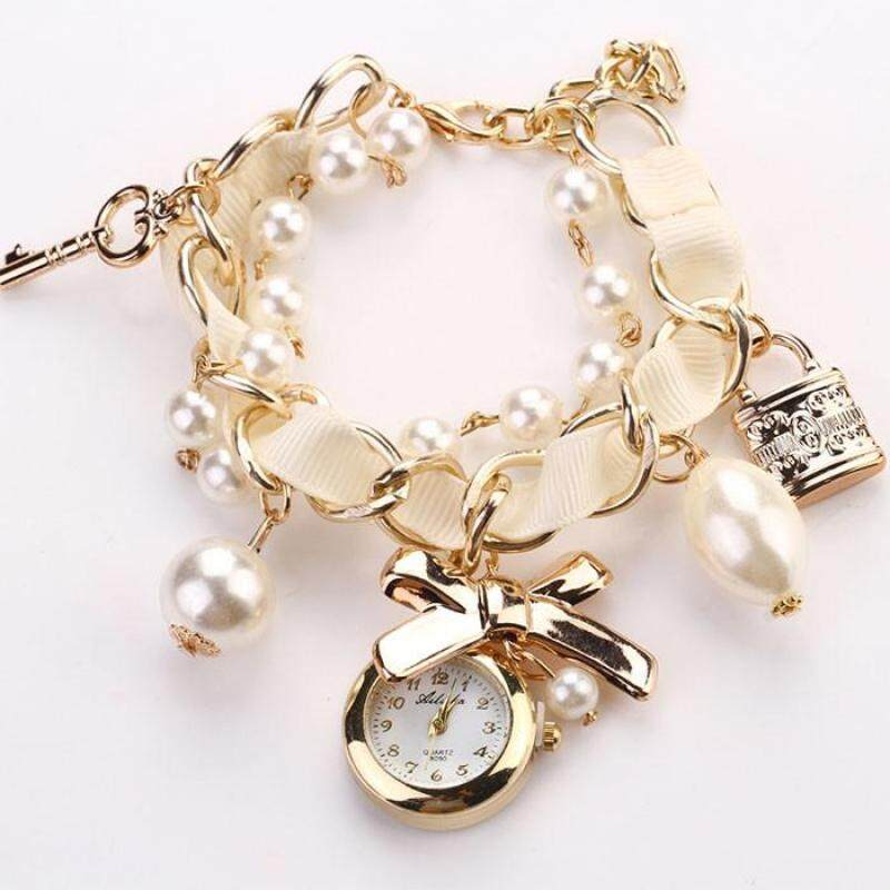 Women Artificial Pearl Bowknot Bracelet Quartz Wristwatches Watches -White Malaysia
