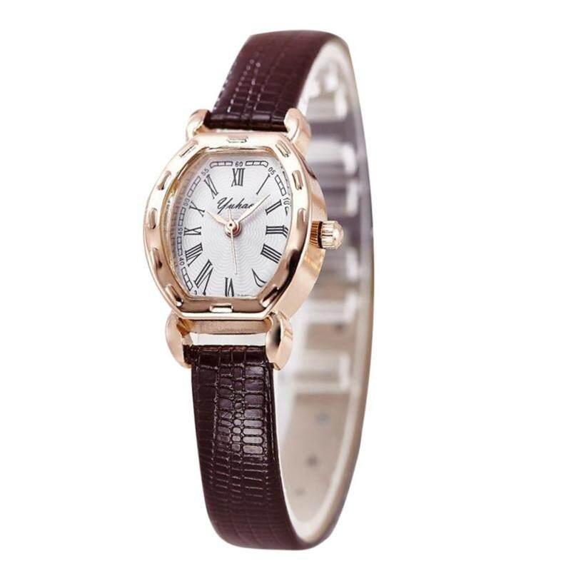 Women Elegant Leather Retro Quartz Clock Wrist Watches  (Coffee) Malaysia