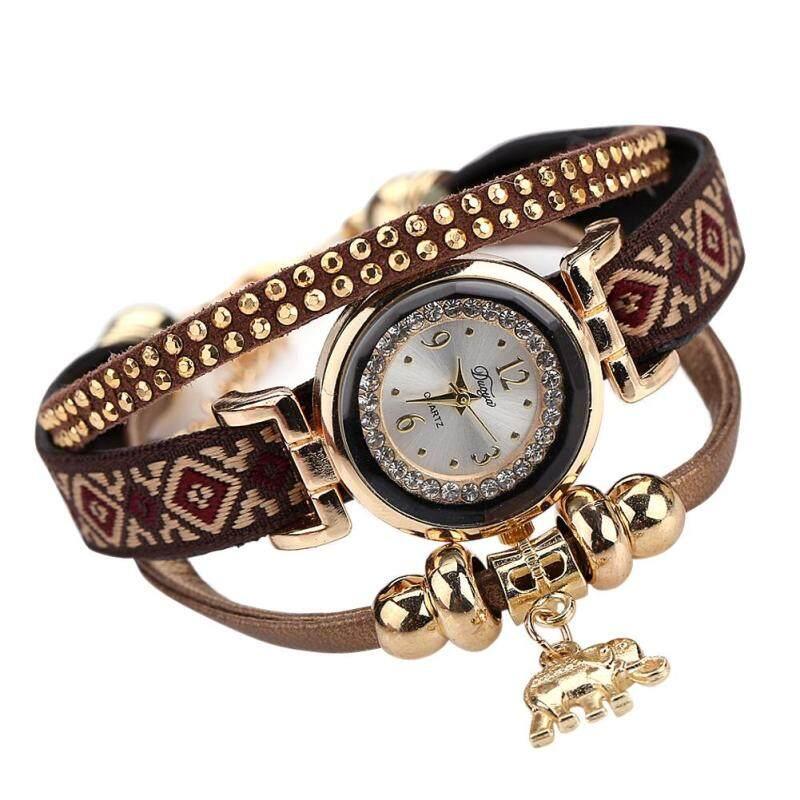 Women Elephant Pendant Bracelet Watch (Brown) Malaysia