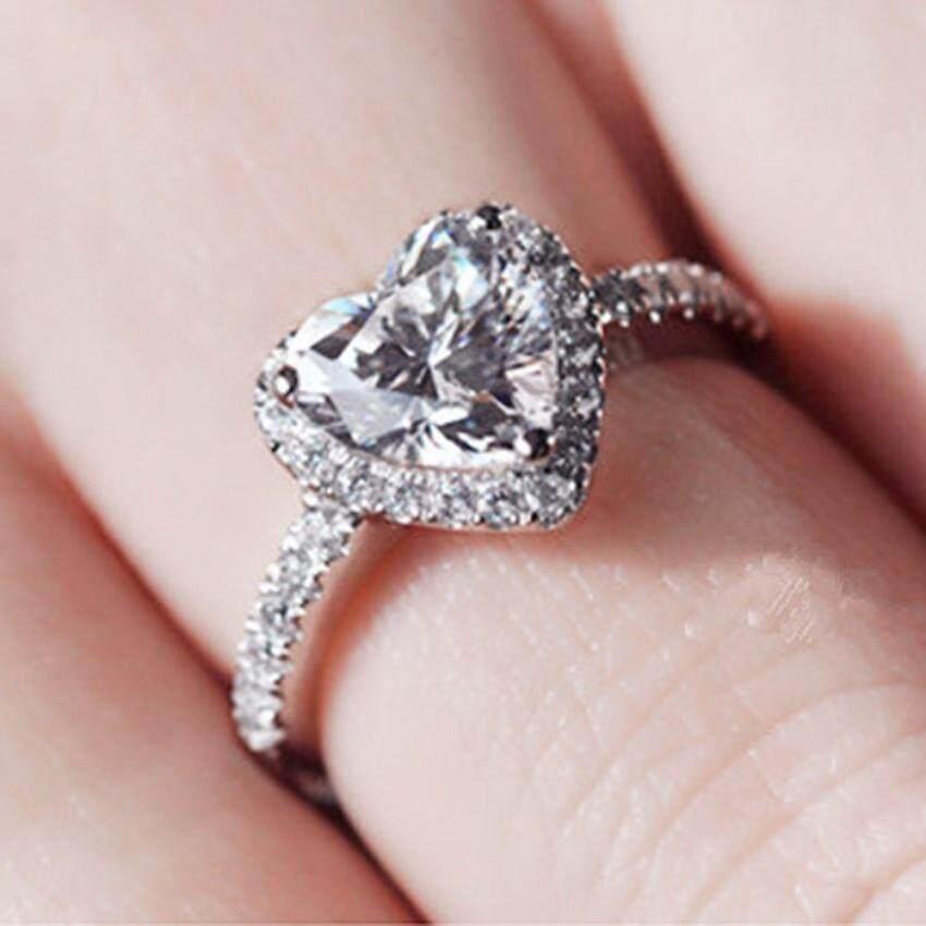 Detail Gambar Wanita Indah Cinta Simulasi Cincin Berlian Kristal Cincin Tembaga Perak-Internasional Terbaru