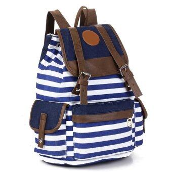 Women Girls Stripe Canvas Backpack Satchel Rucksack Schoolbag ...