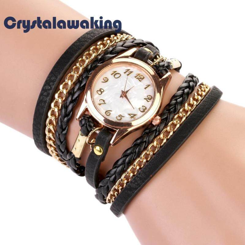 Women Handmade Watches Weave Wrap Leather Bracelet Wristwatch (Black) Malaysia