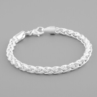 Harga Women Lady 925 Sterling Silver Twisted Bracelet Chain Cuff BangleJewelry Gift