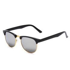 Ongkos Kirim Wanita Pria Mata Kucing Retro Vintage Kacamata Setengah Bingkai Logam Kacamata Hitam Putih Di Tiongkok