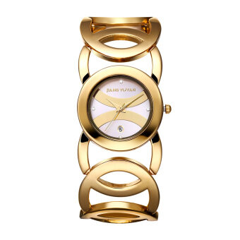 Women watch in jewellery waterproof watches Luxury Full Gold Alloy Quartz Wristwatches With Date Function bracelet watch 380801(White)