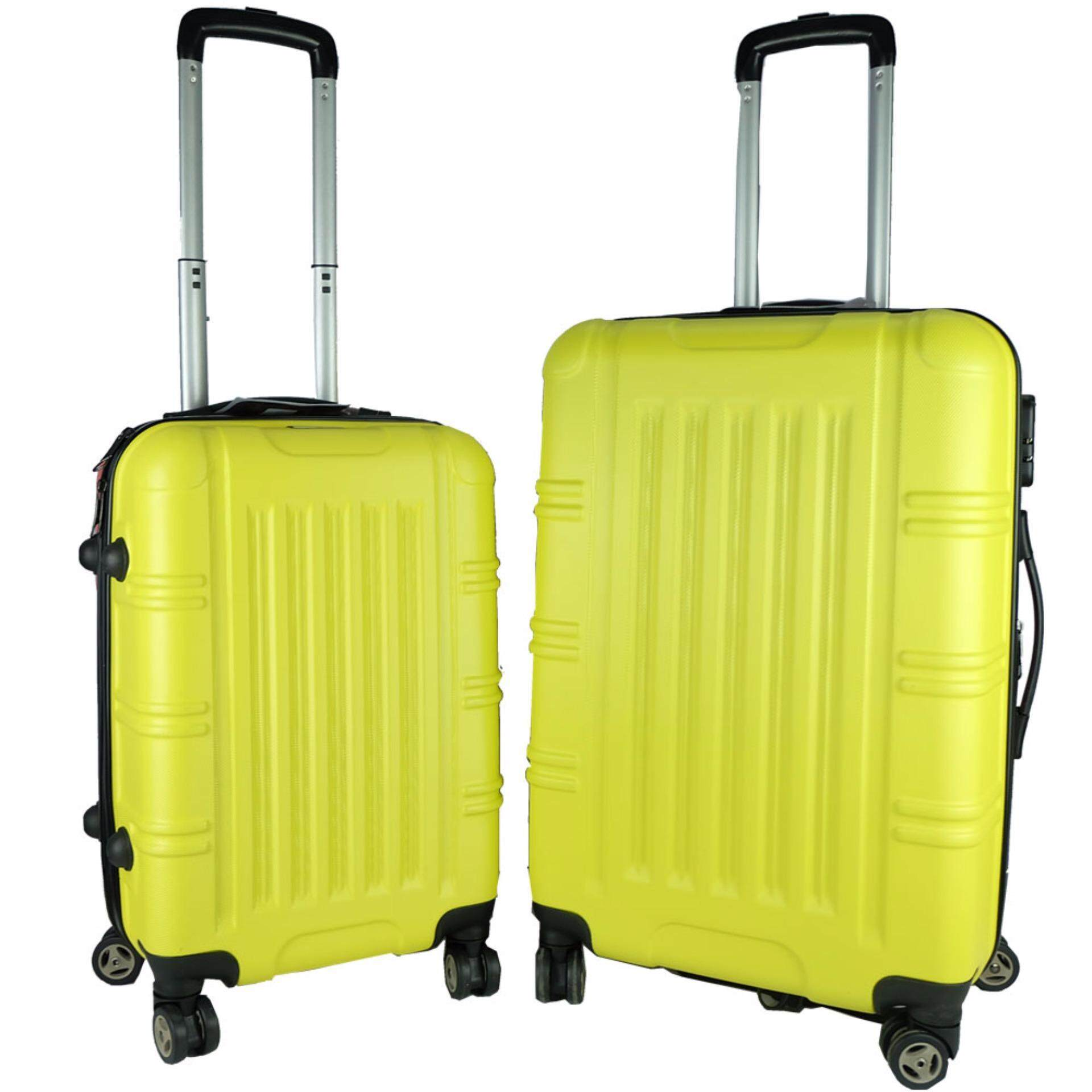 W.POLO Big Stripe 2-in-1 Ultralight Double Color Luggage Set (20inch + 24inch)- Yellow/Red