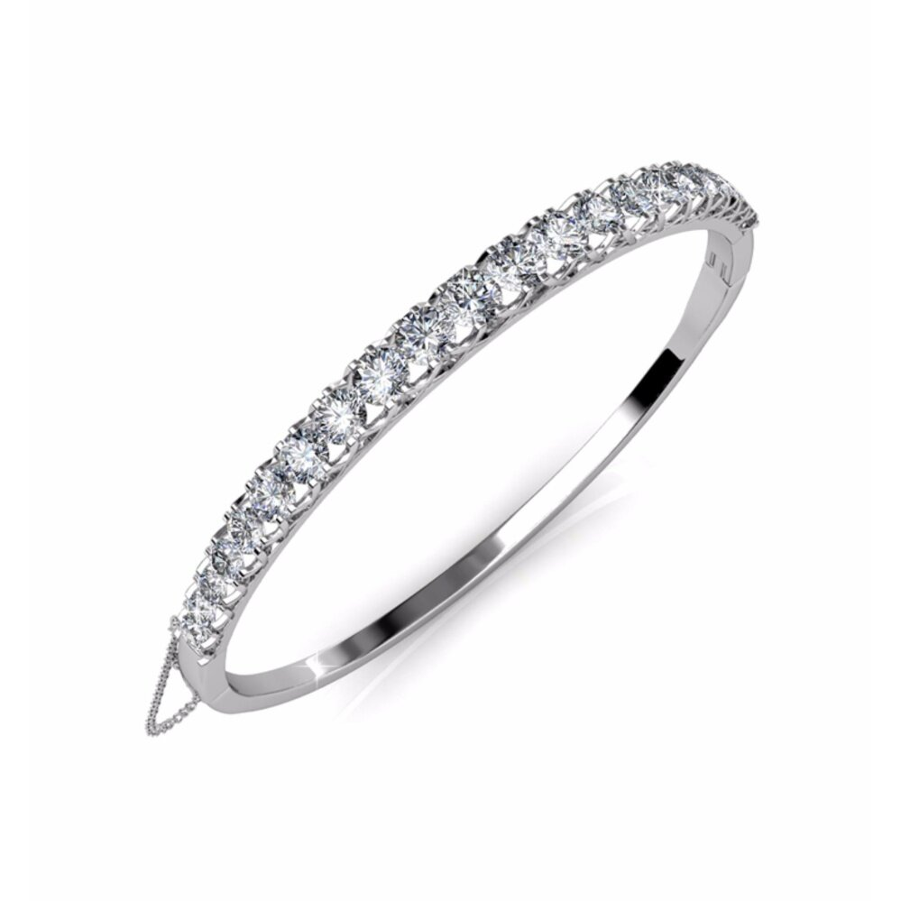 Bangle Xena (White Gold) Embellished With Crystals From Swarovski - Her Jewellery