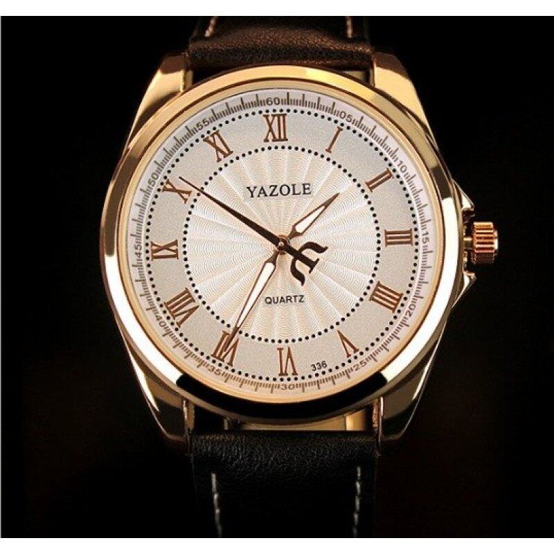 Yazole 336 Mens Quartz Water Resistance Rhinestone Golden Bezel Leather Wrist Watch (White&Black) Malaysia