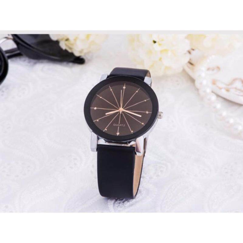 Yazole Quartz Fashion Korean Classic Casual Round Simple Leather Watch Unisex Analog Women Men Couple Lover (Men) (Black) Malaysia