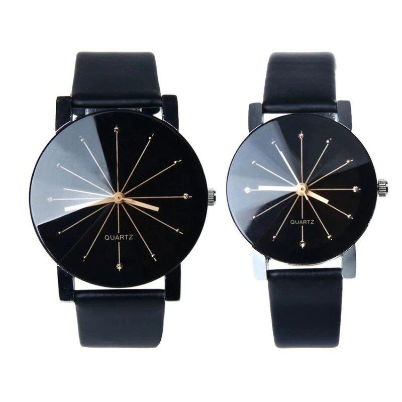 YBC 1 Pair of Couple Wrist Watch Casual PU Leather Round Dial Watchband (Black) Malaysia