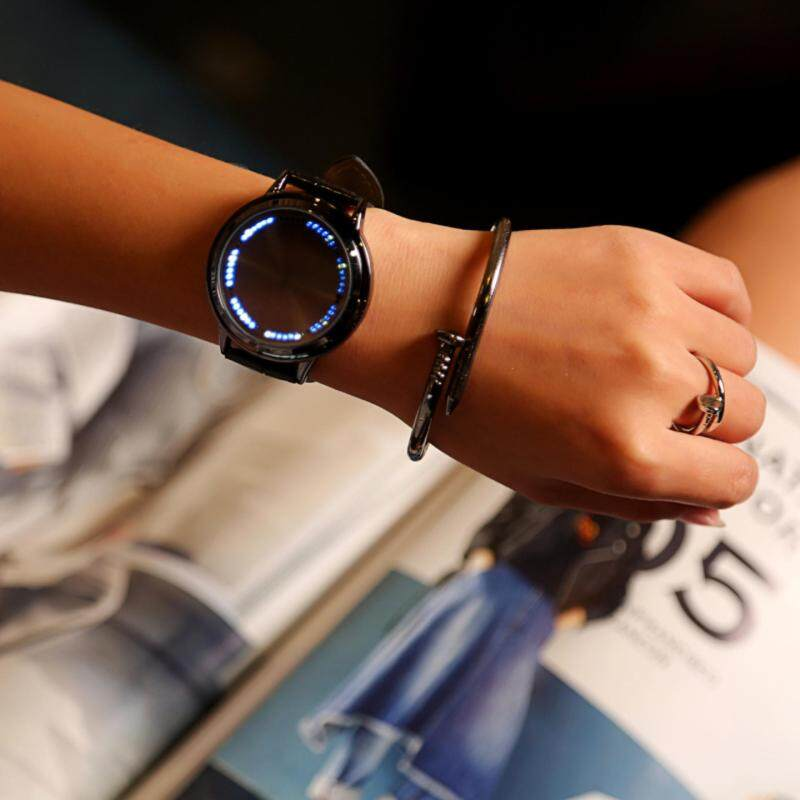 YBC Fashion Couple Leather Band LED Watches Blue Light Display Time For Men Black Malaysia