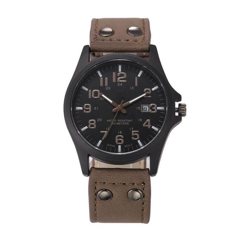 YBC Men Military Casual Quartz Watch Calendar Date PU Leather Strap Wristwatch Malaysia
