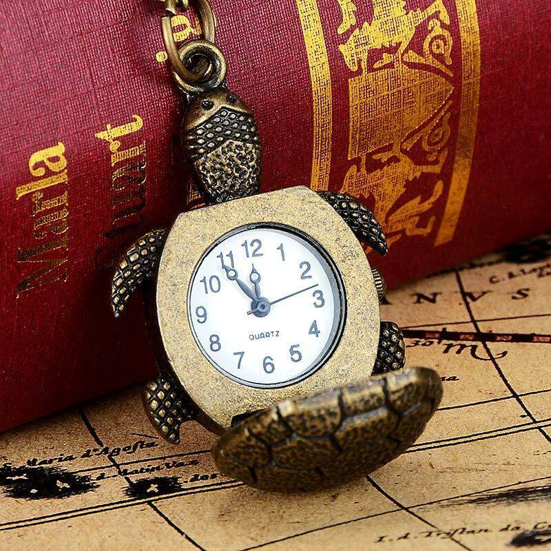 YBC Vintage Men Women Turtle Shape Pocket Watch With Necklace Gift Malaysia
