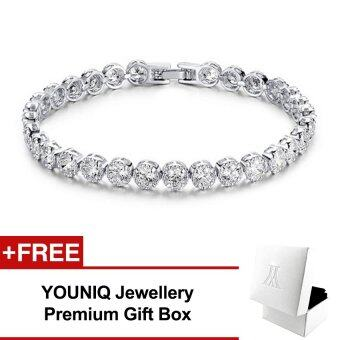 Harga YOUNIQ One-Drilling Platinum Plated Silver Bracelet