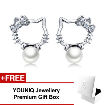 Harga YOUNIQ Pearly Kitty 925 Sterling Silver Earrings