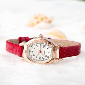 Yuhao High Quality RED Leather Strap Watch Roman Numerals Quartz Watch - 2