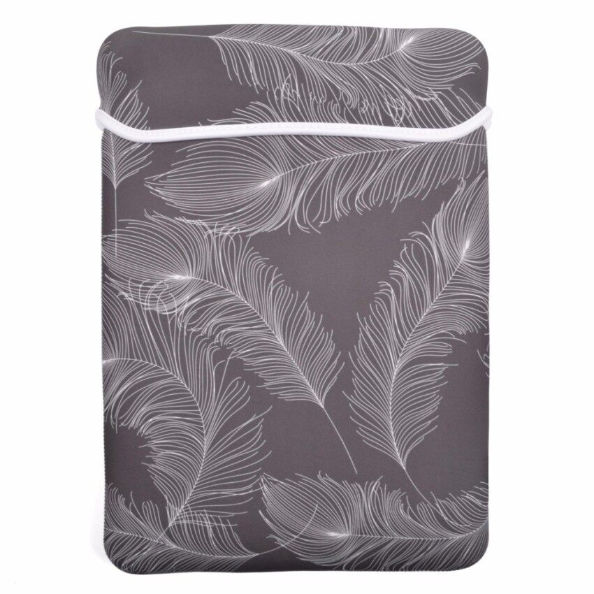 Yushong Feather Series Soft Neoprene Laptop Notebook Ultrabook 13 Inch Sleeve Carrying Case Bag For MacBook Pro For MacBook Air A1369 / 13.3 Inch HP Stream (Gray Color with White Feather) - intl