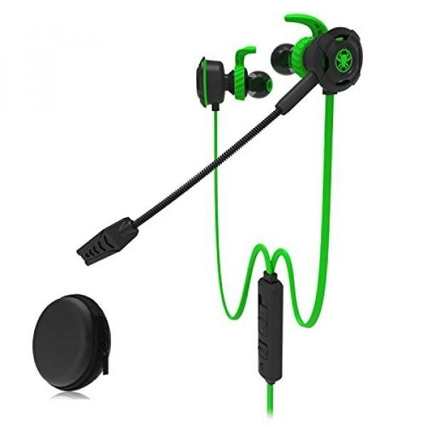 Zagzog Pro Gaming Headset with Microphone 3.5mm in-ear Noise Cancelling Portable Mobile Games wired earphones for smartphones PC Tablet for PUBG (Green) - intl