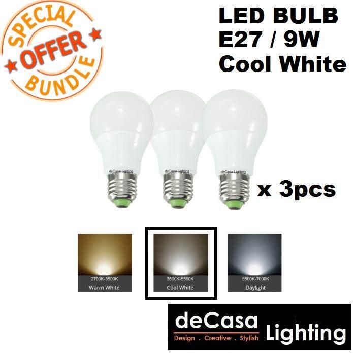 Bundle 3 of E27 9w LED Cool White Bulb for Pendant Light Ceiling Lamp Outdoor Light Globe Led Bulb (DCS-MGB-E27-9W-CW-3PCS)