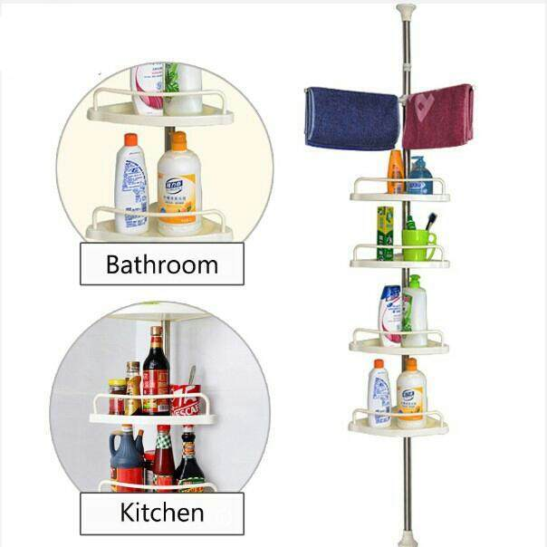 4 Tier Multipurpose Toilet Bathroom Corner Shelf Storage Organizer Rack 顶天立地置物架
