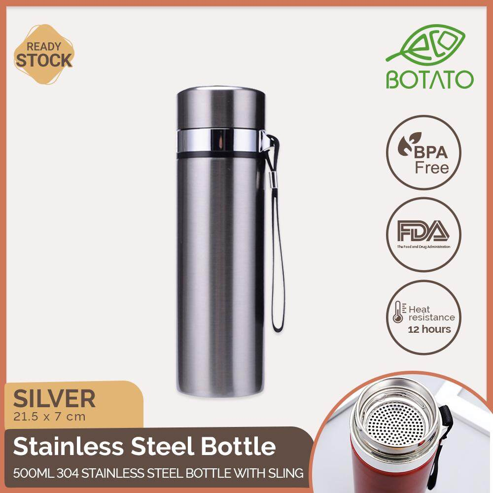 ([Ready Stock] Eco.Botato 304 STAINLESS STEEL BOTTLE with SLING 500ml Premium Insulated Thermos Vacuum Flasks Thermal Tumbler for Cycling Hiking Travel Camping with Filter Layer, Rubber Sealing Lid in Classic Business Style Design Drinkware Eco Friendly)
