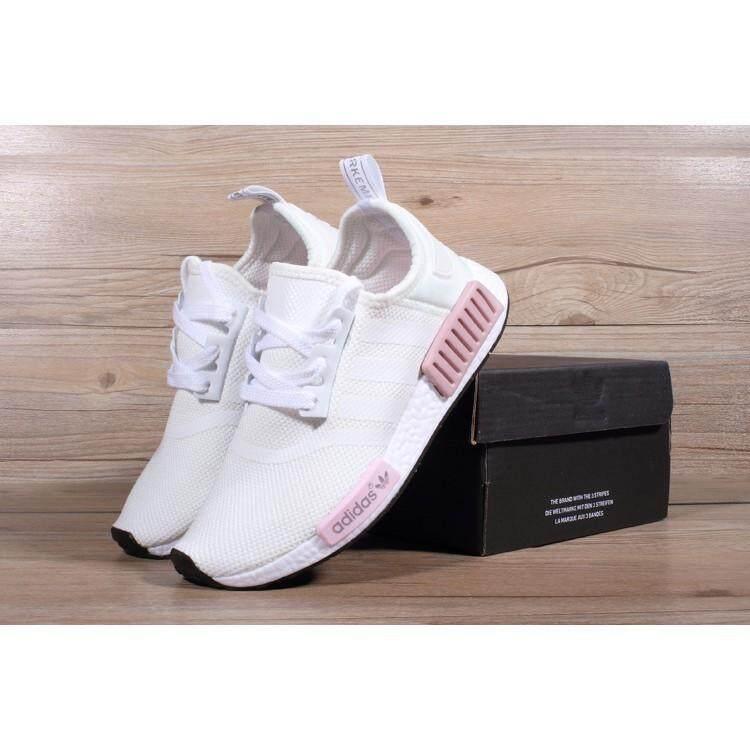 ยี่ห้อไหนดี  ระยอง ขายร้อน Stok siap Adidas Asal - usul Nmd_R1 Pelatih รองเท้าวิ่งสตรีรองเท้าผ้าใบ Merah Jambu