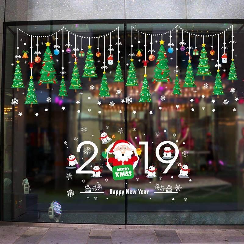 CHRISTMAS TREE WINDOW DECORATION STOREFRONT GLASS DOOR STICKER XH6255
