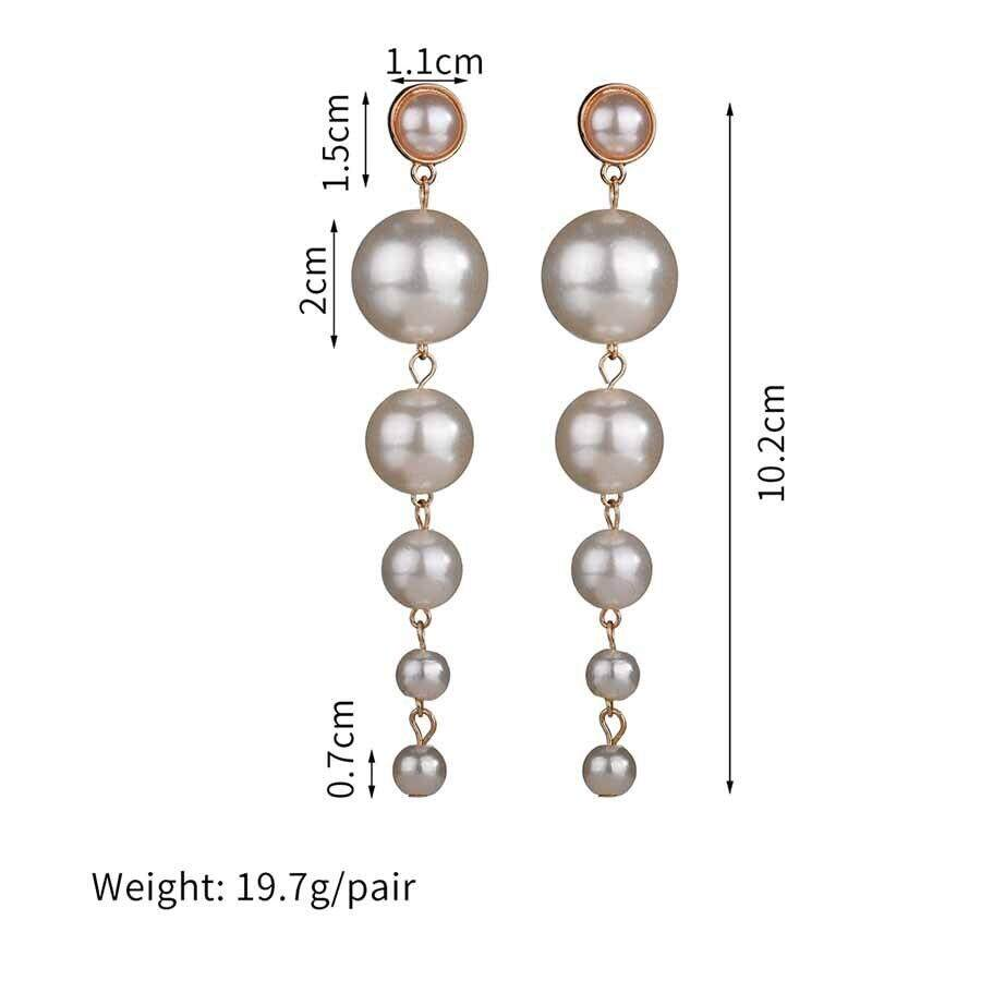 73a8850e5d999 New Trendy Elegant Created Big Simulated Pearl Long drop Earrings Pearls  String Statement Dangle Earrings For Wedding Party Gift
