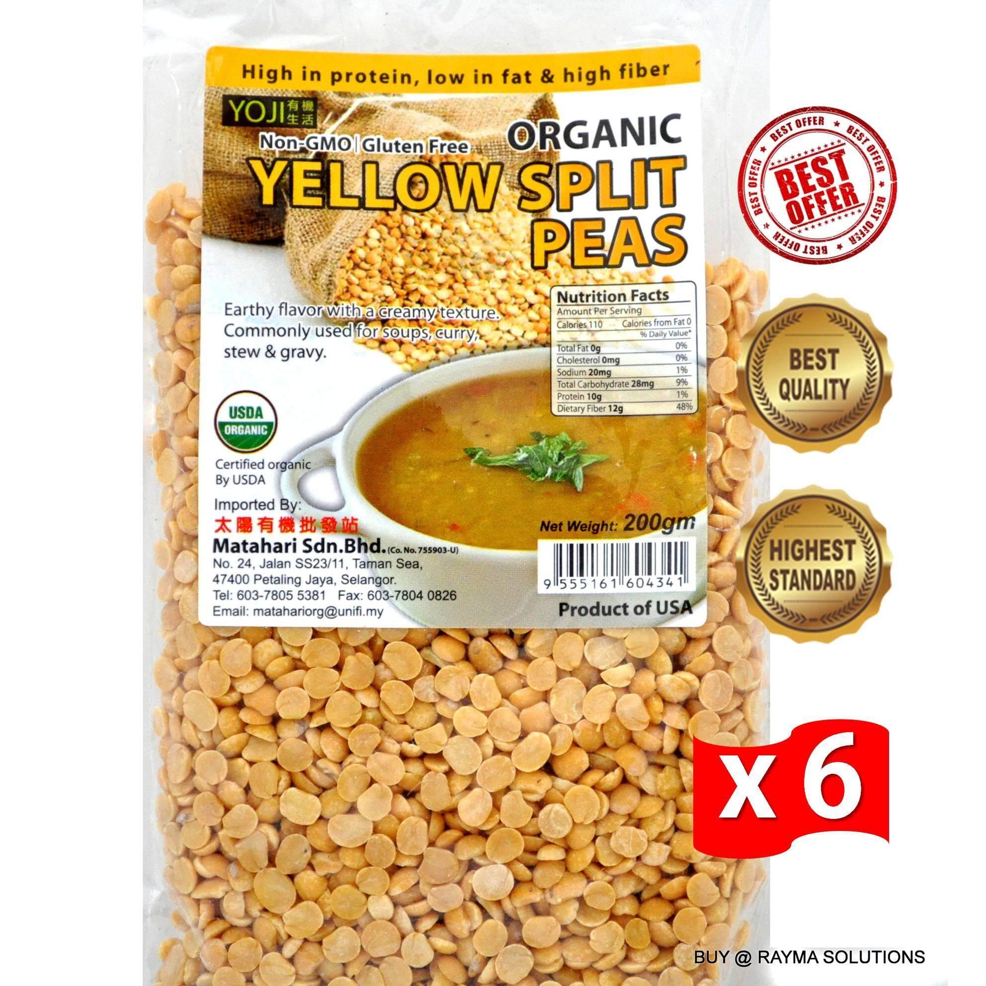 [Best Deal] MH FOOD Organic Yellow Split Peas 200g (6 Packs)