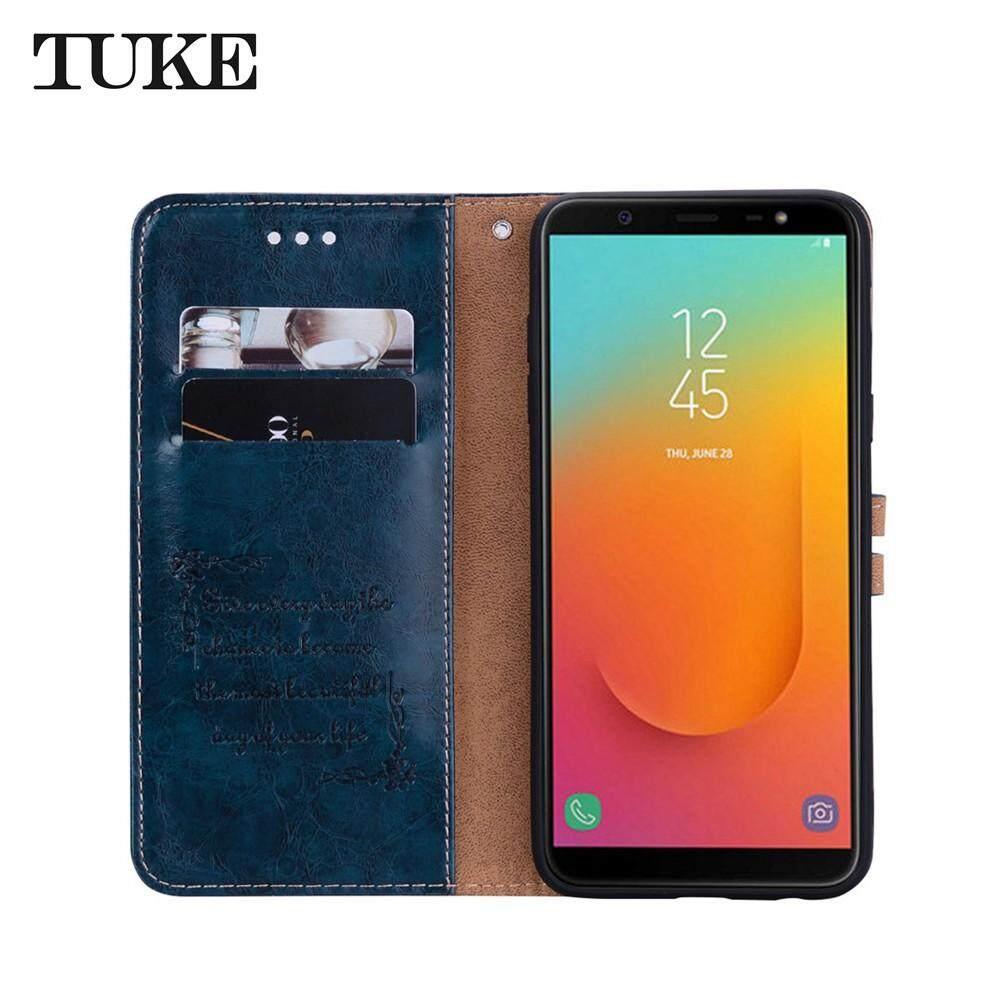 ... Untuk Samsung Galaxy J8 2018 Lilin Minyak Khusus Tekstur Bisnis Flip Case Kulit dengan Slot Penyimpan