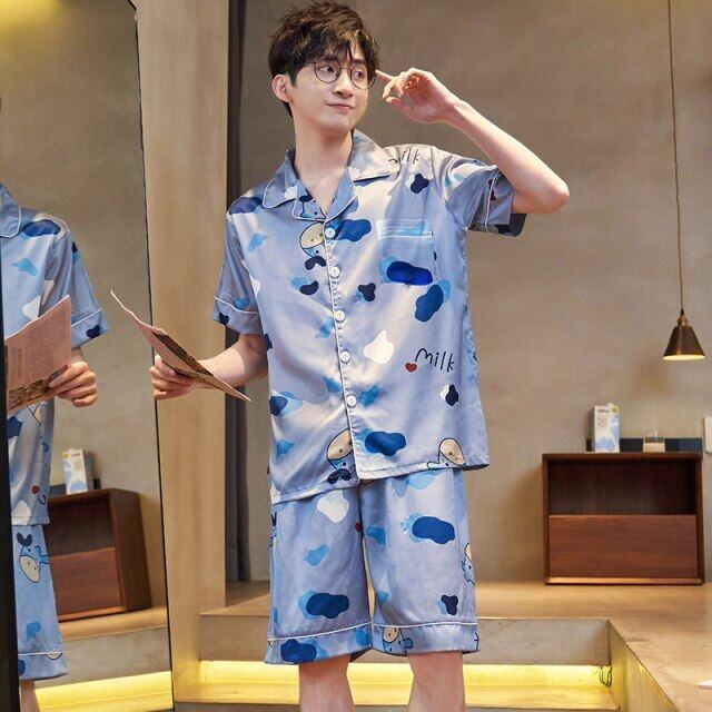 Bộ Đồ Ngủ Nam Mùa Hè Mới Nhất Ngoại Cỡ, M-5XL Quần Ngủ Lụa Cho Nam Đồ Ngủ Satin Pijama Pijama Quần Short Pajama Nữ