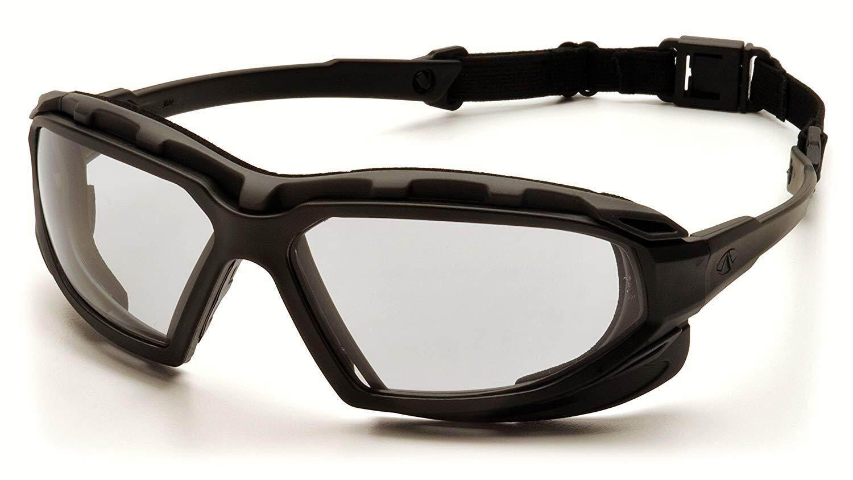 Pyramex Highlander Plus Safety Goggles Black-Gray Frame/Clear Anti-Fog Lens