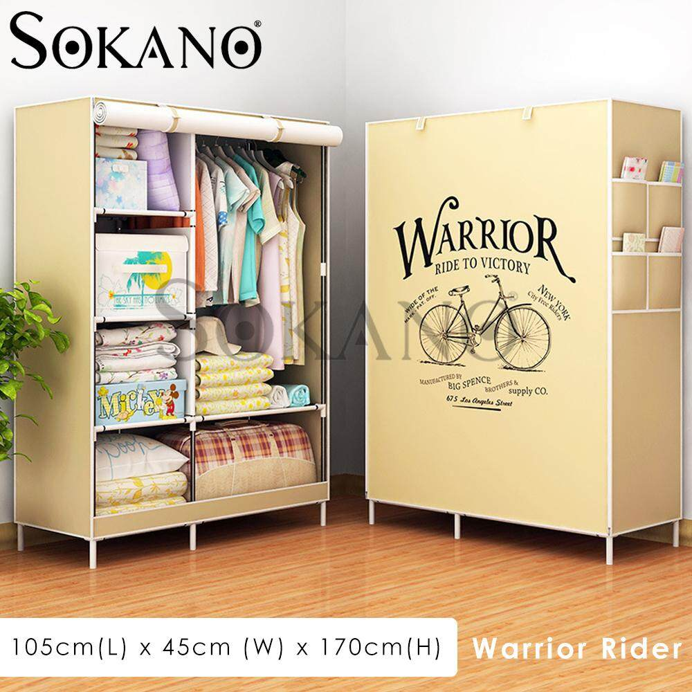 (RAYA 2019) SOKANO 1422 Large Wardrobe with Spacious Storage And Strong Steel Structure with 3D Image Design Almari Baju