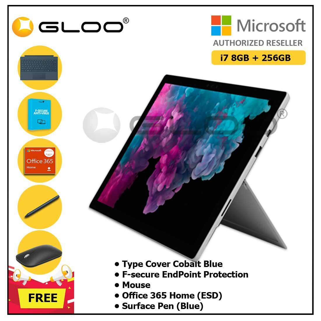 Microsoft Surface Pro 6 Core i7/8GB RAM - 256GB + Type Cover Cobalt Blue + F-Secure End Point Protection + Office 365 Home (ESD) + Pen Cobalt Blue + Mouse