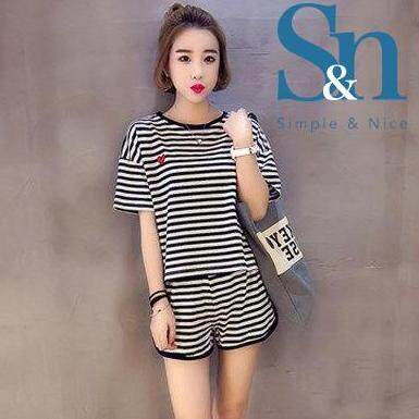 【SIMPLE & NICE】Korean Fashionista Women Stripe Design Short Sleeve & Pants Casual Summer Wear Set (Grey/Black - Size: M-XXL)