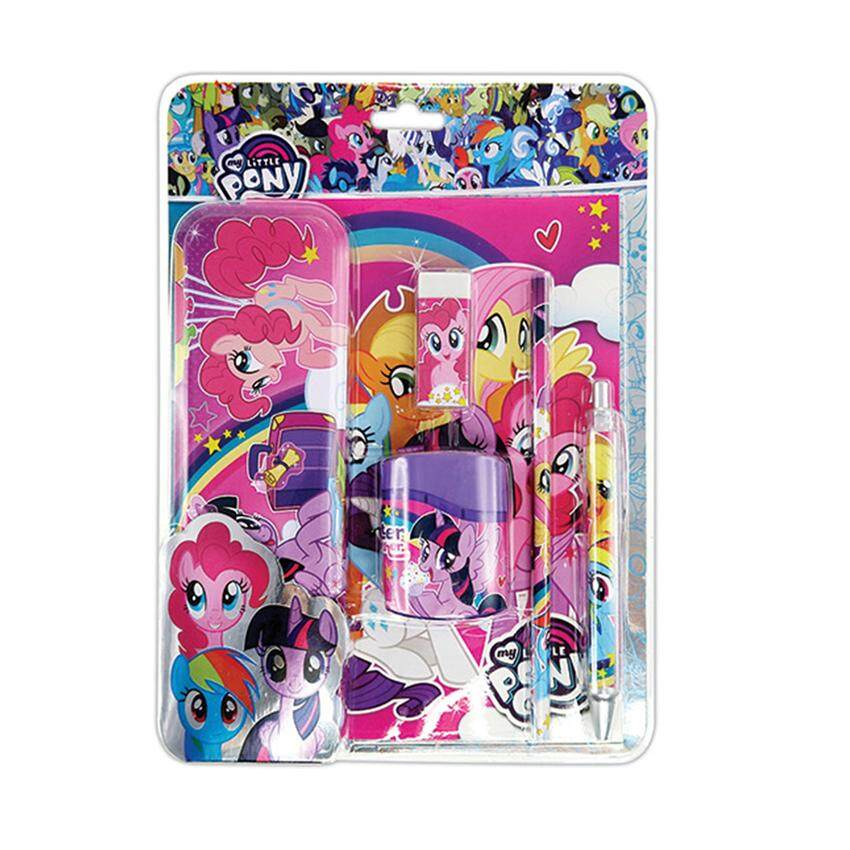 My Little Pony 6pcs Stationery Set With Pencil Case - Pink Colour