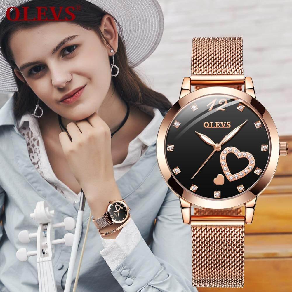 OLEVS ผู้หญิงแฟชั่นนาฬิกาข้อมือลำลอง Starry Sky Dial แม่เหล็กหัวเข็มขัดเพชรสุภาพสตรีนาฬิกาควอตซ์กันน้ำตายข่ายสแตนเลส Rhinestones นาฬิกาข้อมือสตรี