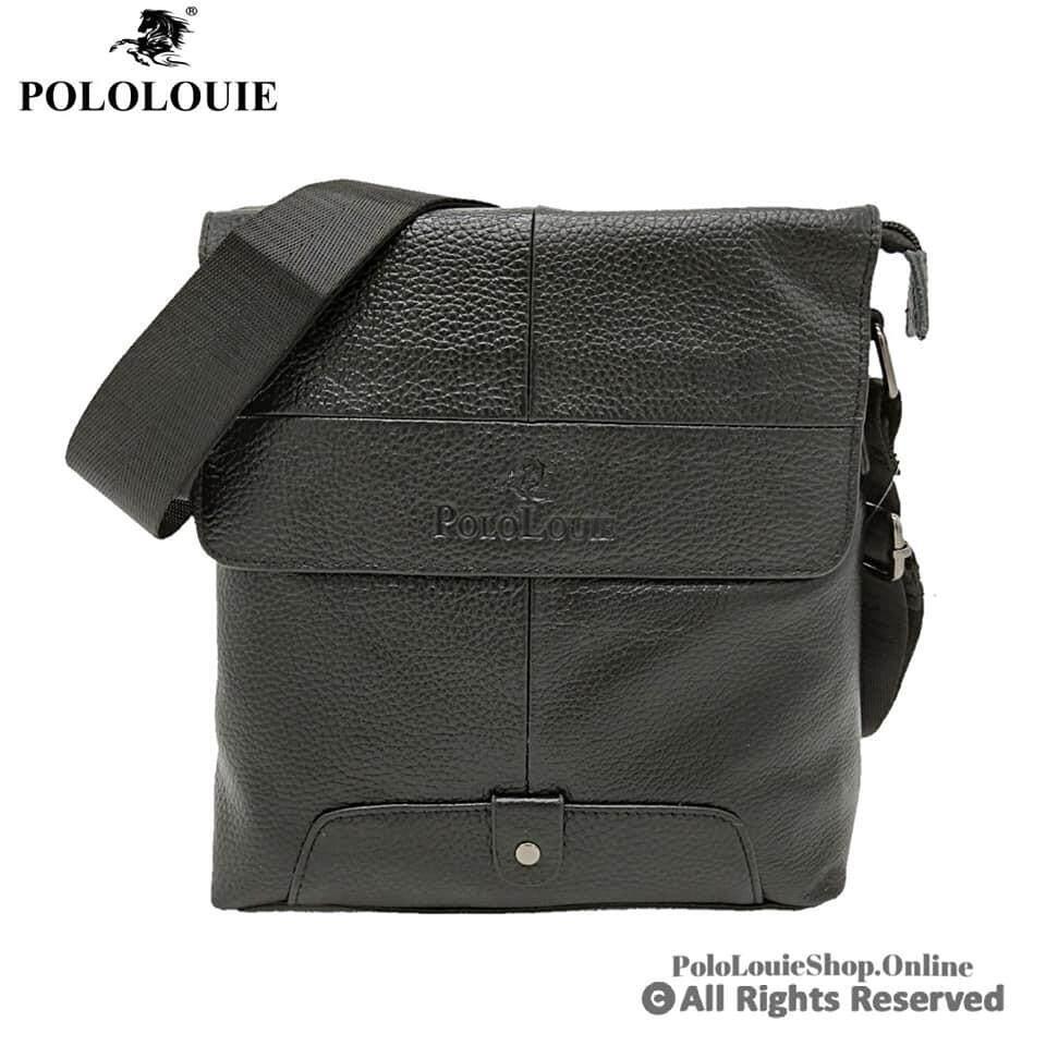 High Grade Original Polo Louie Genuine Cow Leather Men Sling Bag Messenger Bag98