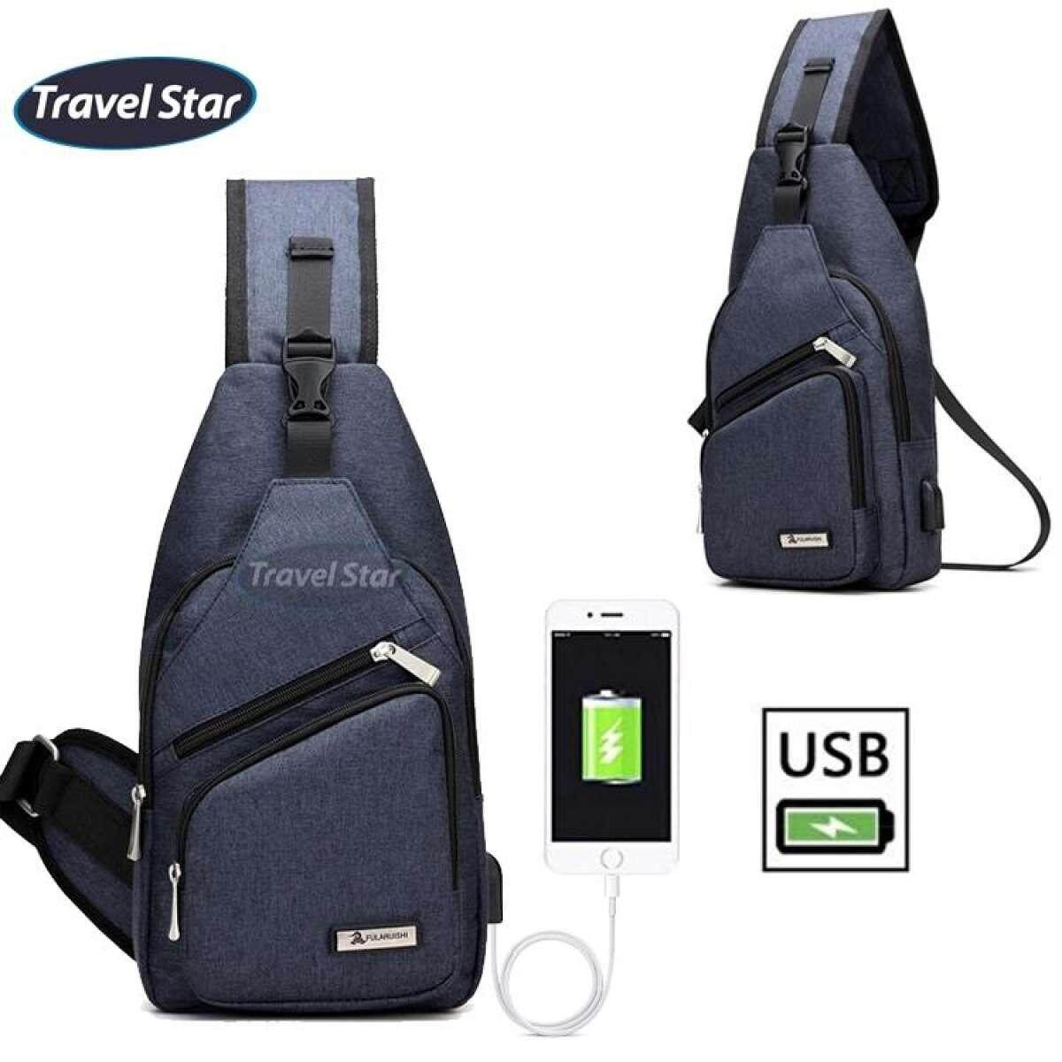 Travel Star 1317 Korean Style Premium Shoulder Bag With External Charging USB Port