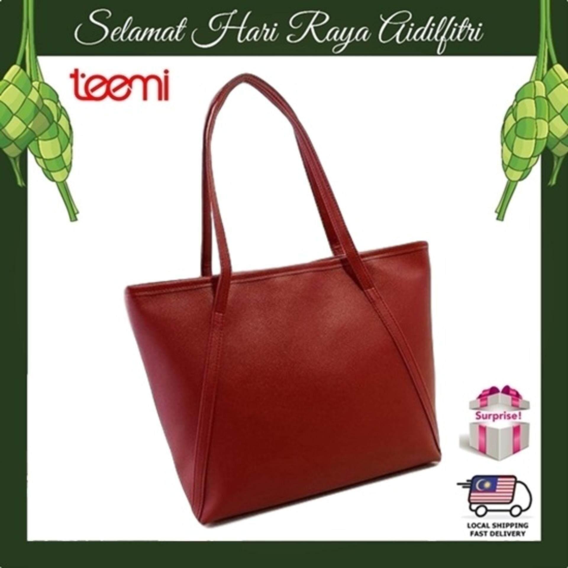 TEEMI Elegant Korean Style PU Leather Large Tote Bag Women Fashion Handbag Shoulder Bag - Maroon