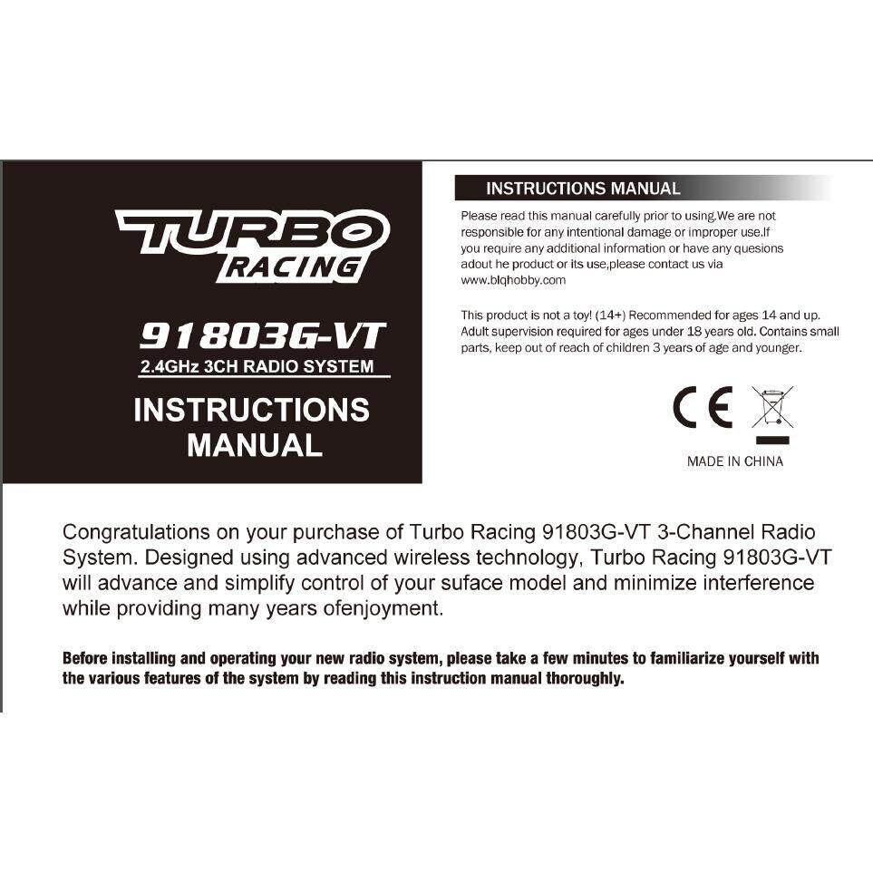 TURBO 2.4GHz 91803G 3CH Radio system Transmitter Controller for RC Car Boat - WHITE / GREEN / BLACK / BLUE
