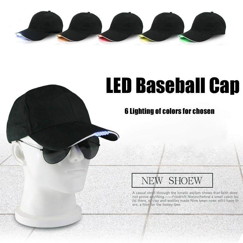 Caps - Adjustable LED Lighting Caps Unisex Luminescence Baseball Cap Night lighting hat - [RED / BLUE / YELLOW / ORANGE / WHITE / GREEN]