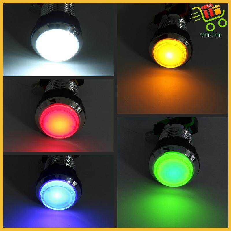 32mm Led Light Big Round Arcade Video Game Player Push Button Switch Lamp 250v White Bulb Biped Red Bulb Biped Green Bulb Biped