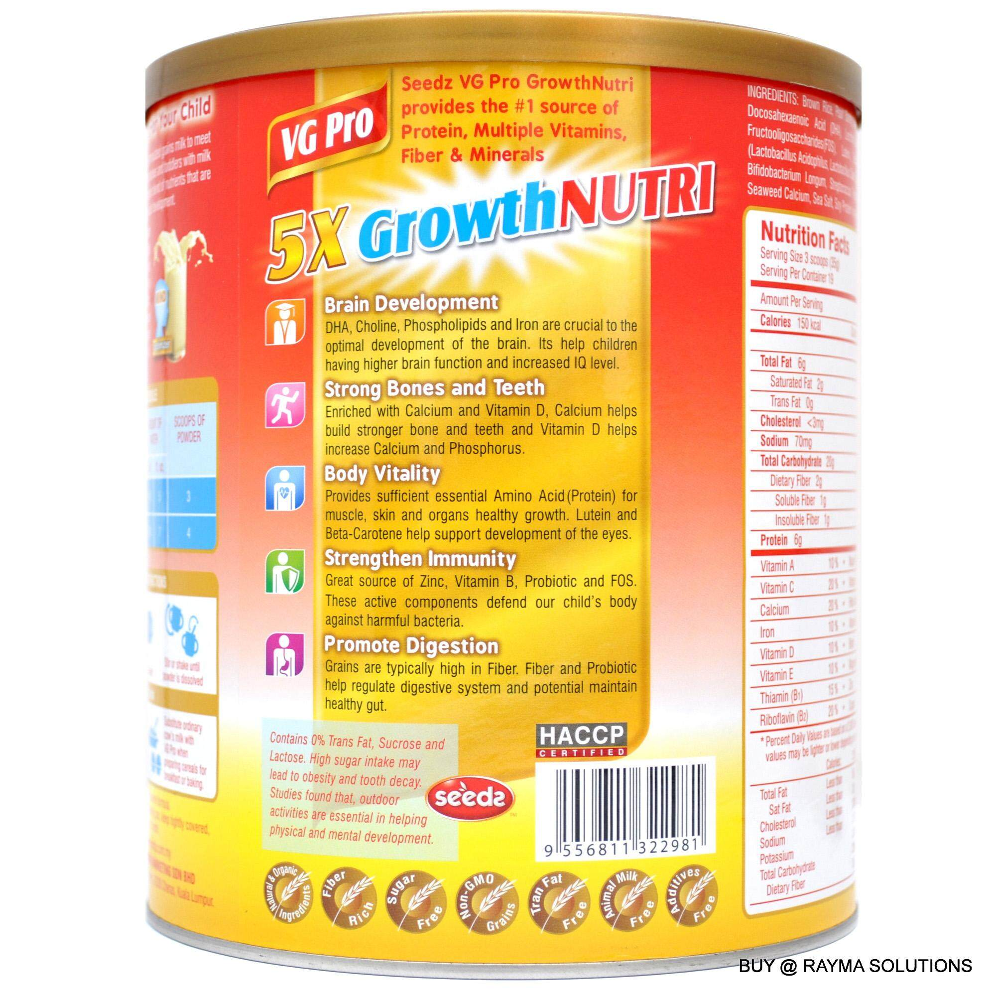 SEEDZ VG Pro 5X Formulated Grains Milk Growth Nutri, for 1-6 Years Old, (650g)
