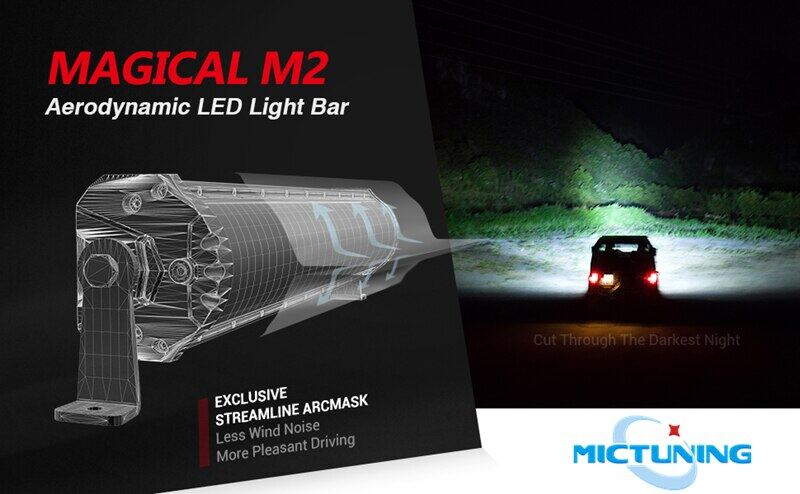 12680lm with IceBlue Accent Light Upgraded MICTUNING Magical M1s 31 Inch 180w Aerodynamic LED Light Bar Exclusive Curved Lens Wind Diffuser and Wiring Harness