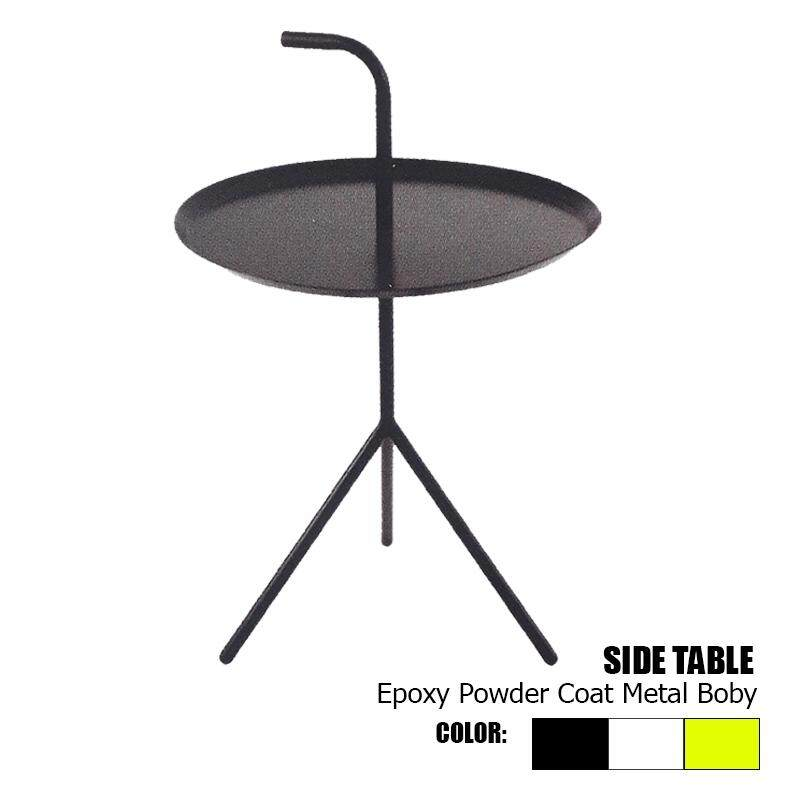 Designer Series Side Table Epoxy Powder Coat Metal Body with 3 Legs - Black/White/Yellow