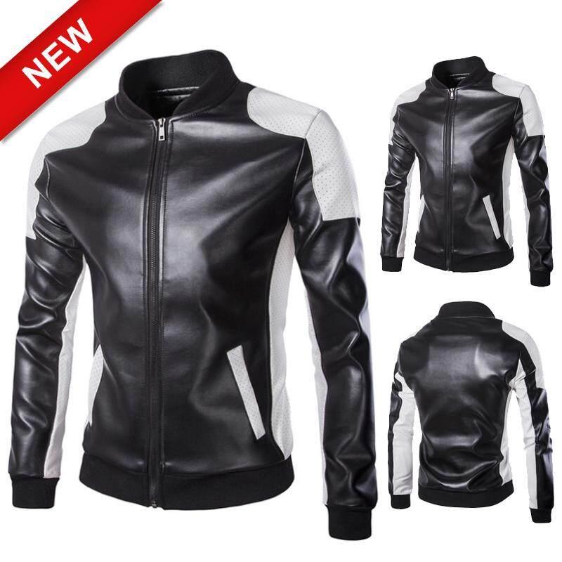 2NE1แฟชั่นผู้ชายรถจักรยานยนต์หนังZipper Coatเย็บเสื้อผ้าหนังเสื้อหนังSlim【สินค้าพร้อม-คุณภาพสูง】