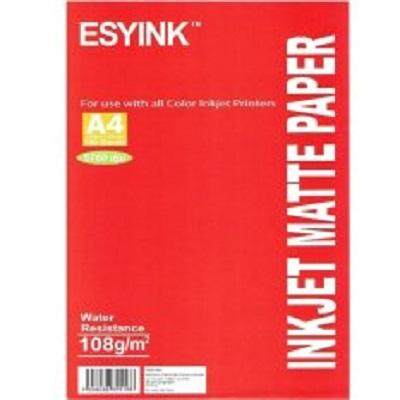 Esyink Quality Inkjet A4 Matte Paper 108 gsm (Size 210 × 297 mm, 100 sheets)