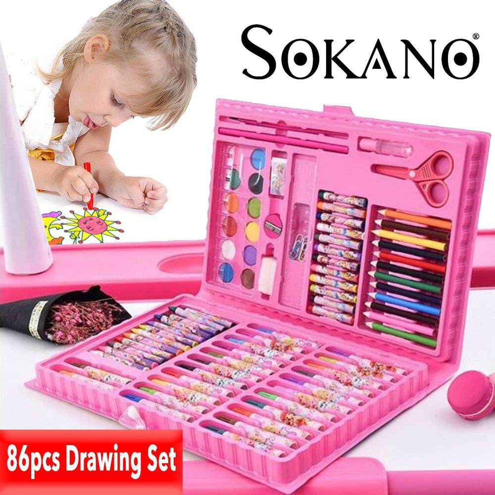 (RAYA 2019) SOKANO 86 pcs Kids Painting Pen Crayon Drawing Art Set Colour Pencils with Storage Case