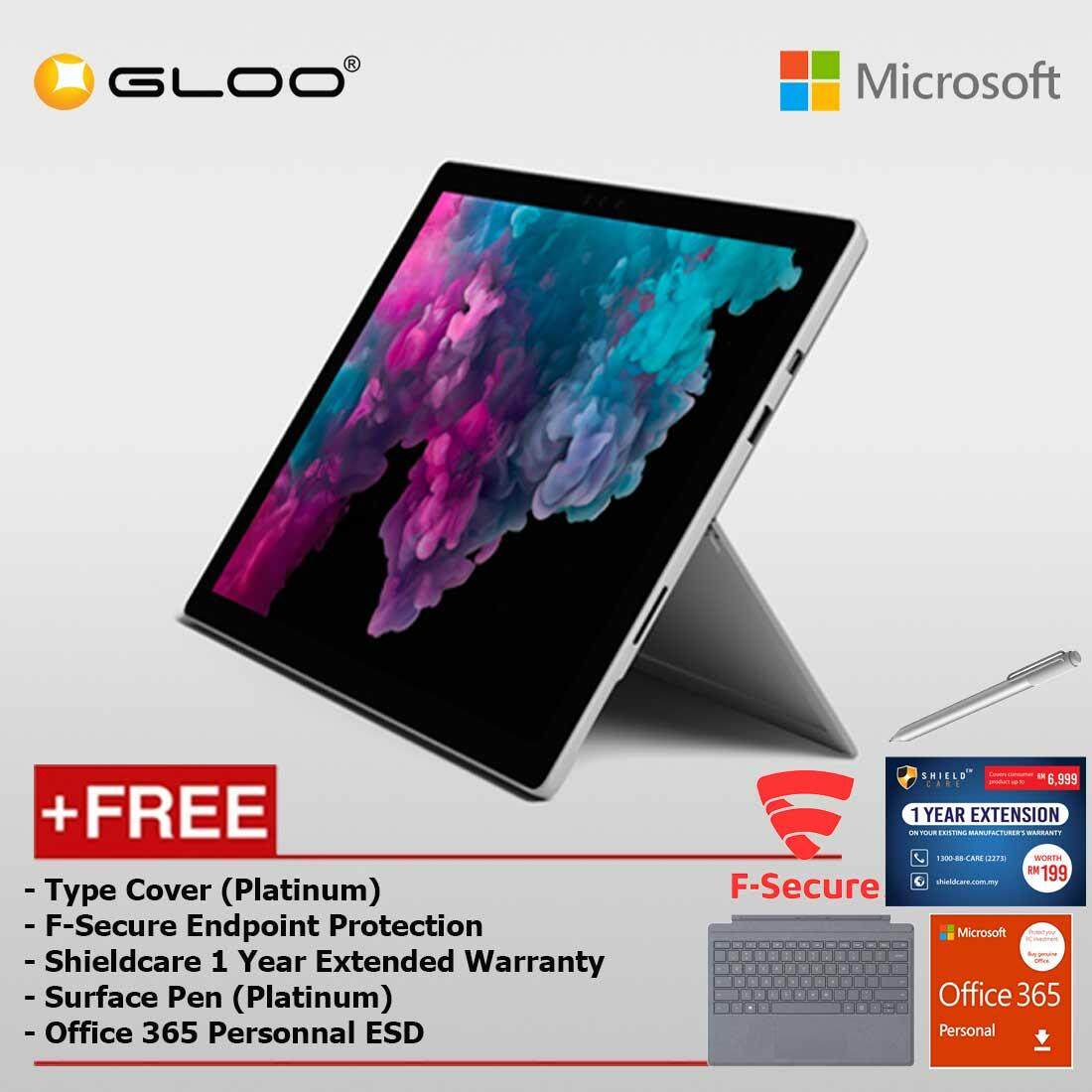 Microsoft Surface Pro 6 Core i5/8GB RAM -128GB + Type Cover Platinum + Shield Care 1 Year Extended Warranty + F-Secure End Point Protection + Pen Platinum + Office 365 Personal (ESD)